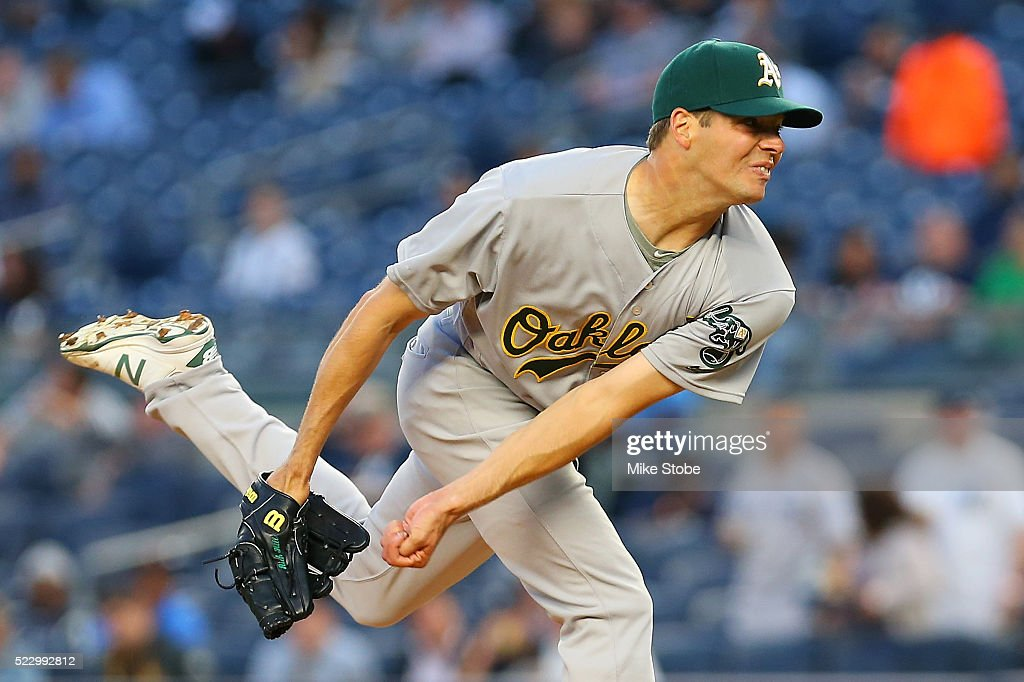 Rich Hill #18 of the Oakland Athletics pitches in the first inning against the New York Yankees at Yankee Stadium on April 21, 2016 in the Bronx borough of New York City.