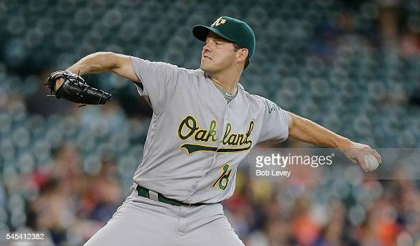 Rich Hill of the Oakland Athletics pitches in the first inning against the Houston Astros at Minute Maid Park on July 7 2016 in Houston Texas