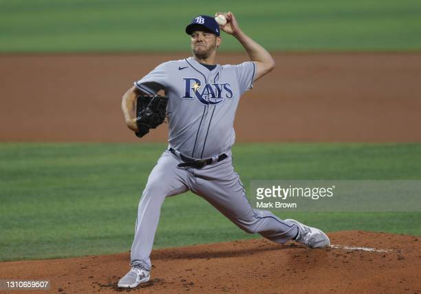 Rich Hill of the Tampa Bay Rays delivers a pitch in the first inning against the Miami Marlins during the MLB game at loanDepot park on April 03,...