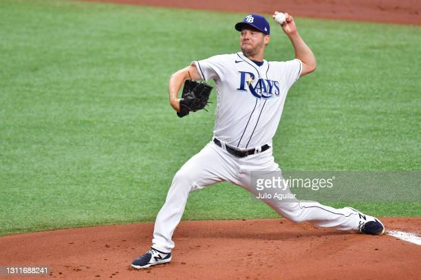 Rich Hill of the Tampa Bay Rays delivers a pitch in the first inning to the New York Yankees at Tropicana Field on April 09, 2021 in St Petersburg,...