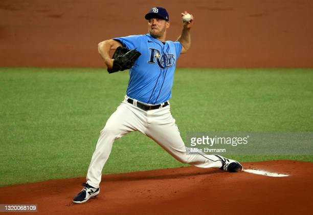 Rich Hill of the Tampa Bay Rays pitches during a game against the Kansas City Royals at Tropicana Field on May 25, 2021 in St Petersburg, Florida.