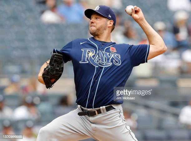 Rich Hill of the Tampa Bay Rays pitches during the first inning against the New York Yankees at Yankee Stadium on May 31, 2021 in New York City.