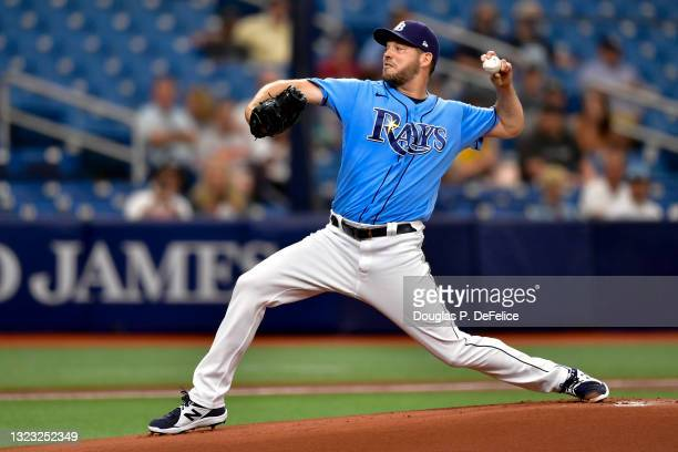 Rich Hill of the Tampa Bay Rays throws a pitch during the first inning against the Baltimore Orioles at Tropicana Field on June 12, 2021 in St...