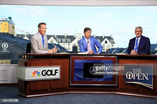 Rich Lerner Brandel Chamblee and Frank Nobilo are seen on the Golf Channel set during previews to the 147th Open Championship at Carnoustie Golf Club...