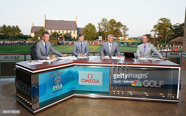 Rich Lerner Brandel Chamblee Frank Nobilo and David Duval are seen on the set of Golf Channel after the third round of the 2015 PGA Championship at...