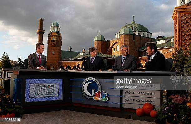 Rich Lerner Brandel Chamblee Frank Nobilo and Nick Faldo are seen on the Golf Channel set prior to the start of The 39th Ryder Cup at Medinah Country...