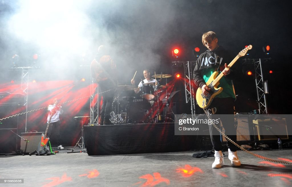 Rich Meyer, Ryan Meyer and Johnny Stevens of Highly Suspect performs on stage at the Forum on February 8, 2018 in London, England.