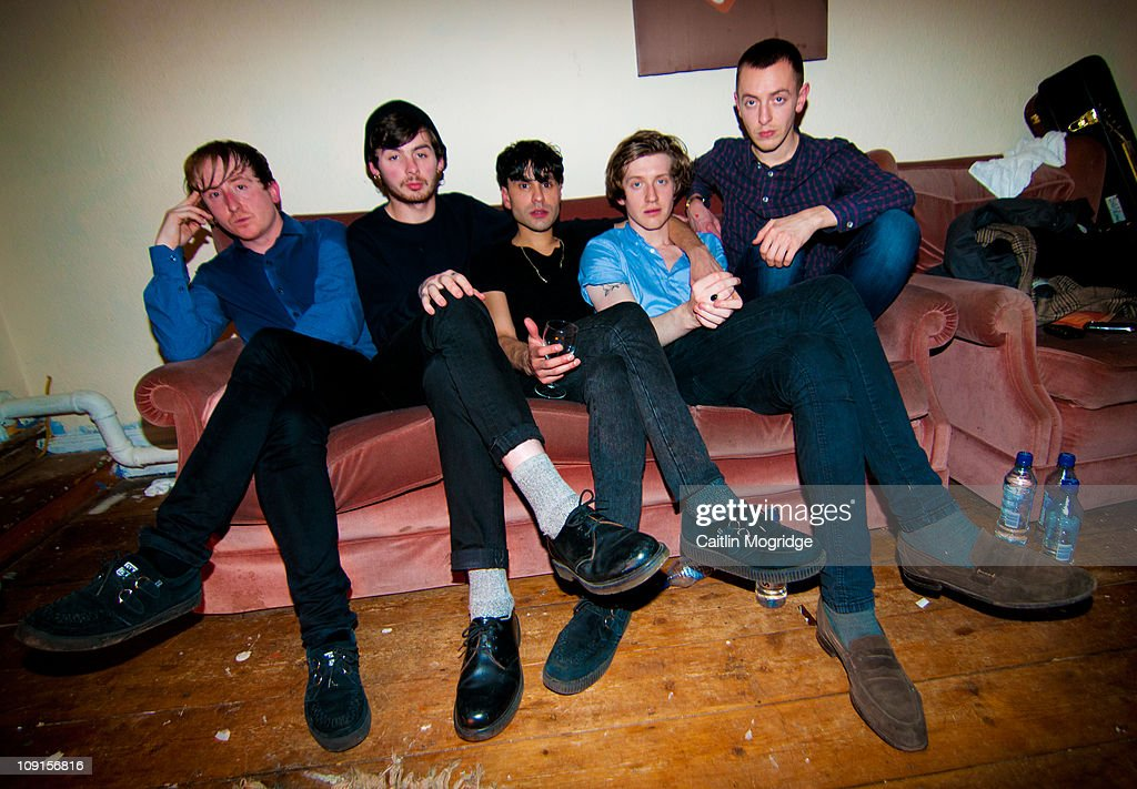 Rich Mitchell, Liam Arklie, Michael Hibbert, Alex Parry, Lewis Bowman of Chapel Club pose for a photoshoot backstage after their show at Talking Heads on February 15, 2011 in Southampton, England.