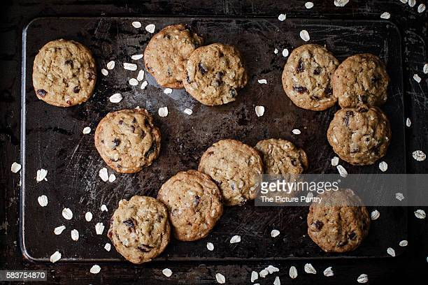 Rich oat cookies with raisin and chocolate chips