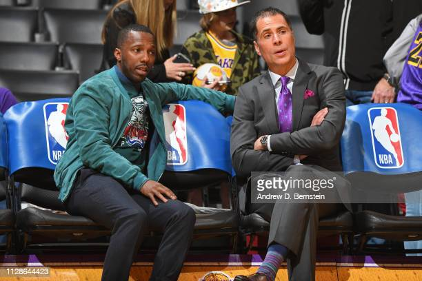 Rich Paul and Los Angeles Lakers General Manager Rob Pelinka speak before the game between New Orleans Pelicans and Los Angeles Lakerson February 27...