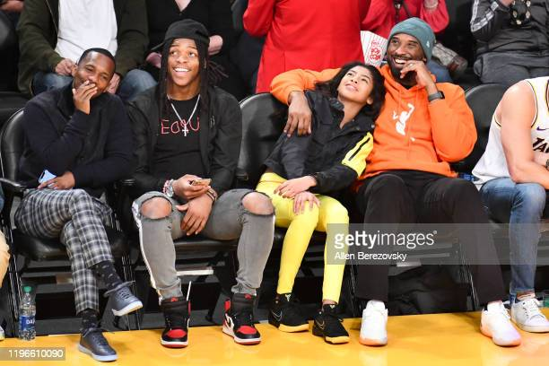 Rich Paul Laviska Shenault Jr Gianna Bryant and Kobe Bryant attend a basketball game between the Los Angeles Lakers and the Dallas Mavericks at...