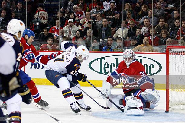 Rich Peverley of the Atlanta Thrashers scores a first period goal on Carey Price of the Montreal Canadiens during the NHL game at the Bell Centre on...