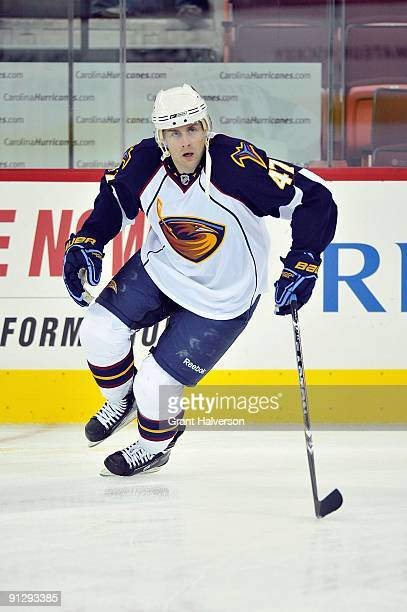 Rich Peverley of the Atlanta Thrashers warms up before the NHL preseason game against the Carolina Hurricanes at the RBC Center on September 25, 2009...