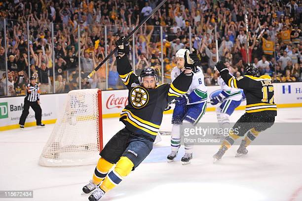 Rich Peverley of the Boston Bruins scores a goal against the Vancouver Canucks in Game Four of the 2011 NHL Stanley Cup Final at TD Garden on June 8,...