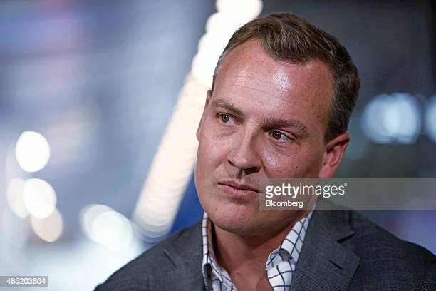 Rich Riley chief executive officer of Shazam Entertainment Ltd pauses during a Bloomberg Television interview at the Mobile World Congress in...