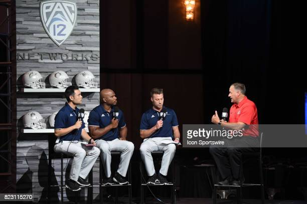 Rich Rodriguez head coach of the Arizona Wildcats speaks to the Pac12 Network during the Pac12 Football Media Day on July 26 2017 at Hollywood...