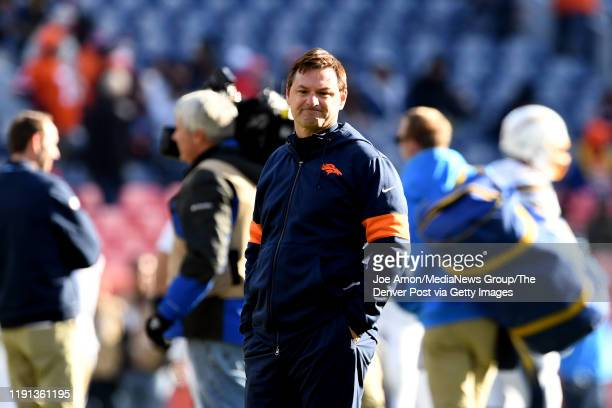 Rich Scangarello Offensive coordinator of the Denver Broncos before the Denver Broncos take on the Los Angeles Chargers at Empower Field at Mile High...