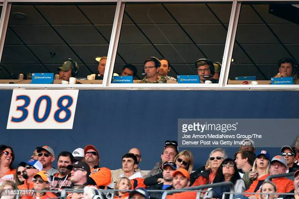 Rich Scangarello the Denver Broncos offensive coordinator in the box as the Denver Broncos take one the Cleveland Browns at Empower Field at Mile...