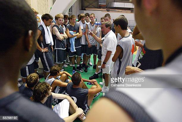 Rich Sheubrooks Nike global basketball consultant talks to players after the evaluation scrimmages during the Basketball without Borders Europe 2005...