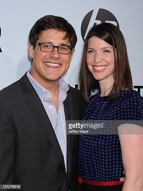 Rich Sommer and wife Virginia Donohoe attend the Los Angeles premiere of Our Idiot Brother at ArcLight Hollywood on August 16 2011 in Hollywood...