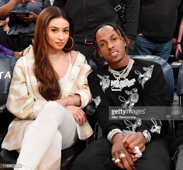 Rich the Kid and a guest attend a basketball game between the Los Angeles Lakers and the Orlando Magic at Staples Center on January 15 2020 in Los...