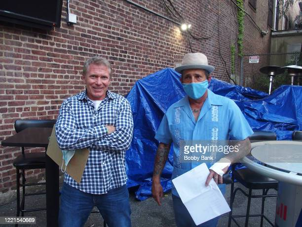 Rich Vos and Vinnie Brand perform at the outdoor patio at The Stress Factory Comedy Club on June 20, 2020 in New Brunswick, New Jersey.