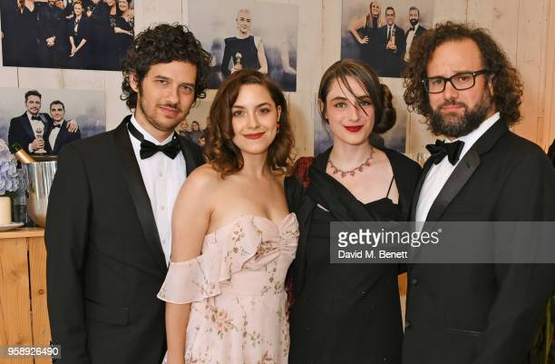 Rich Vreeland aka Disasterpeace Elizabeth Moroni Anna McMillan and Julio Perez pose at Nikki Beach for the Under The Silver Lake dinner presented by...