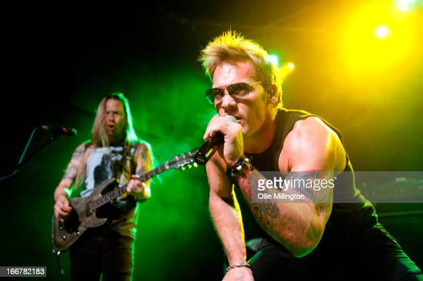 Rich Ward and Chris Jericho of Fozzy perform onstage at Rescue Rooms on April 16 2013 in Nottingham England