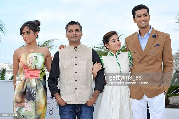 Richa Chadda Neeraj Ghaywan Shweta Tripathi and Vicky Kaushal attend the 'Masaan' Photocall during the 68th Cannes Film Festival