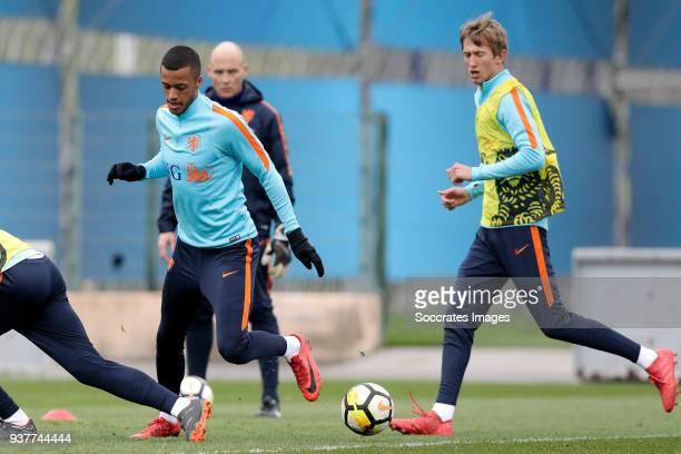 Richairo Zivkovic of Holland U21 Michel Vlap of Holland U21 during the Training Holland U21 at the Ciutat Esportiva Dani Jarque on March 25 2018 in...