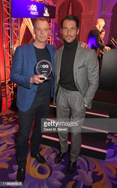 Richard Agnew accepting the Best All Rounder award on behalf of the Land Rover Defender and David Gandy attend the GQ Car Awards 2020 in assoociation...