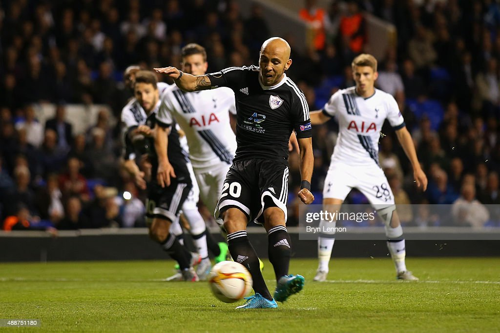 Richard Almeida de Oliveria of FK Qarabag scores the opening goal from the penalty spot during the UEFA Europa League Group J match between Tottenham Hotspur FC and Qarabag FK at White Hart Lane on September 17, 2015 in London, United Kingdom.