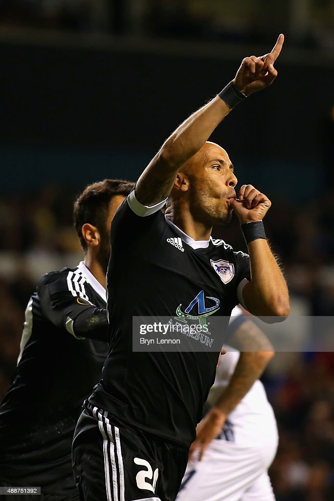 Richard Almeida de Oliveria of FK Qarabagcelebrates scoring the opening goal from the penalty spot during the UEFA Europa League Group J match between Tottenham Hotspur FC and Qarabag FK at White Hart Lane on September 17, 2015 in London, United Kingdom.