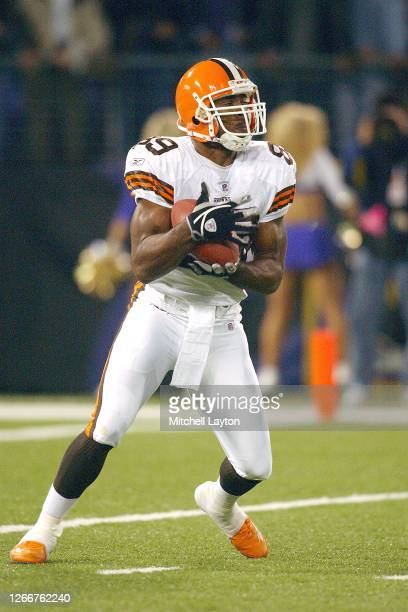 Richard Alston of the Cleveland Browns catches a kick off during a NFL football game against the Baltimore Ravens on November 7, 2004 at M & T Bank...