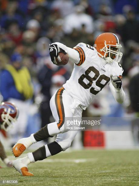 Richard Alston of the Cleveland Browns returns a punt against the Buffalo Bills on December 12, 2004 at Ralph Wilson Stadium in Orchard Park, New...