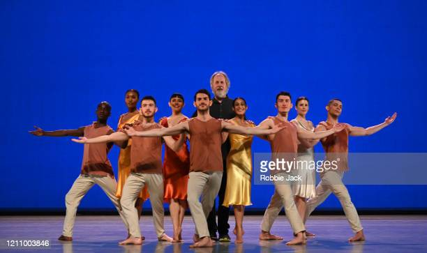 Richard Alston with artists of his company at Sadler's Wells Theatre on March 07, 2020 in London, England.