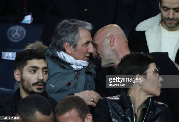 Richard Anconina and Fabien Barthez attend the Ligue 1 match between Paris Saint Germain and AS Monaco at Parc des Princes on April 15 2018 in Paris