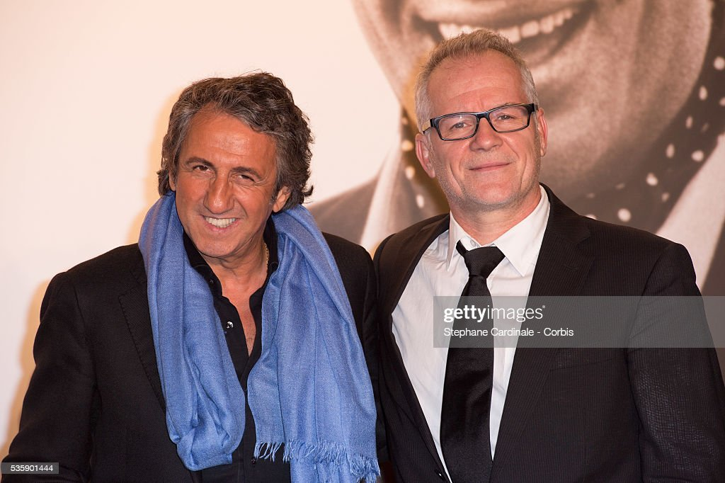 Richard Anconina and Thierry Fremaux attend the Tribute to Jean Paul Belmondo and Opening Ceremony of the Fifth Lumiere Film Festival, in Lyon.