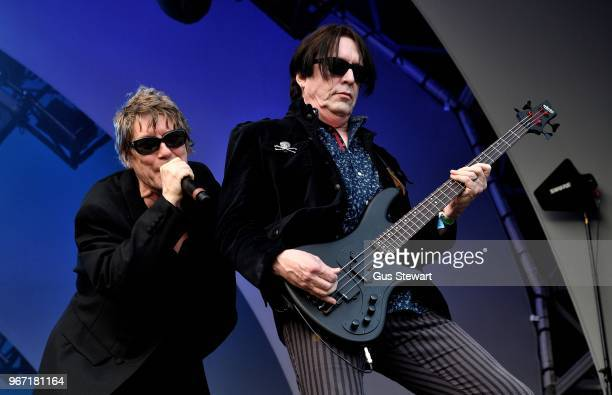 Richard and Tim Butler of Psychedelic Furs perform on stage at All Points East in Victoria Park on June 3 2018 in London England