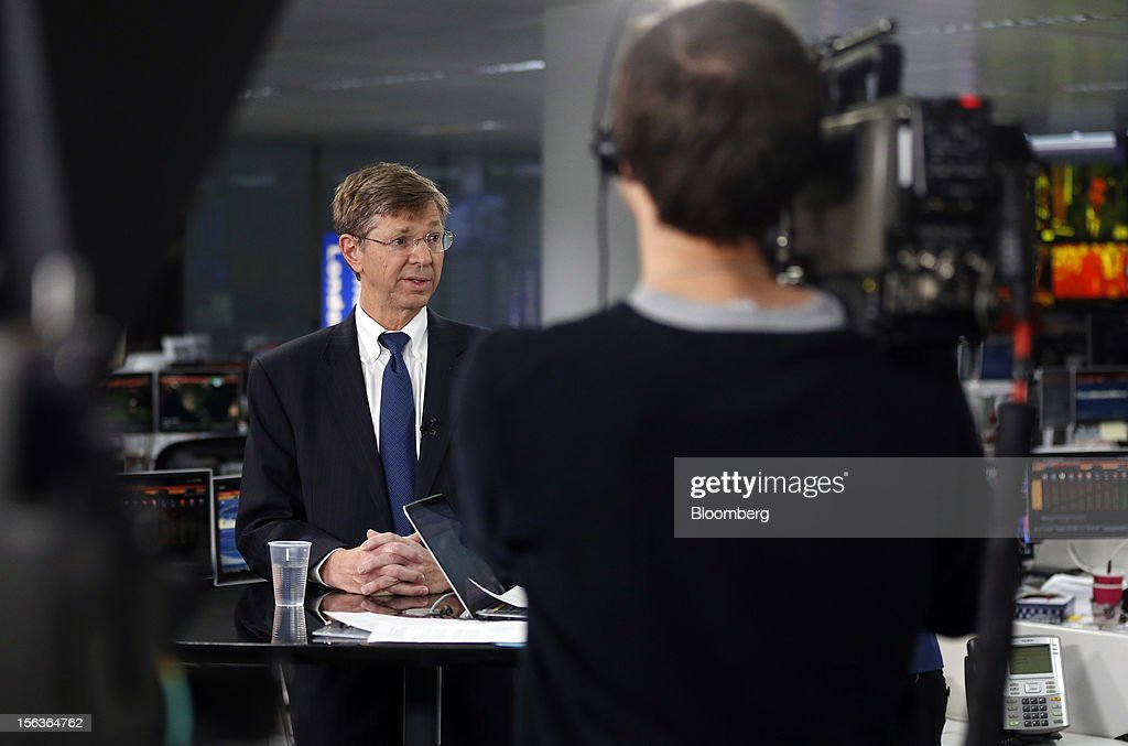 Richard Anderson, chief financial officer of Eurasia Drilling Co., left, speaks during a Bloomberg Television interview, in London, U.K., on Wednesday, Nov. 14, 2012. Eurasia Drilling Co., the largest Russian oilfield services company by market value, plans to expand into the Middle East and North Africa to diversify. Photographer: Simon Dawson/Bloomberg via Getty Images