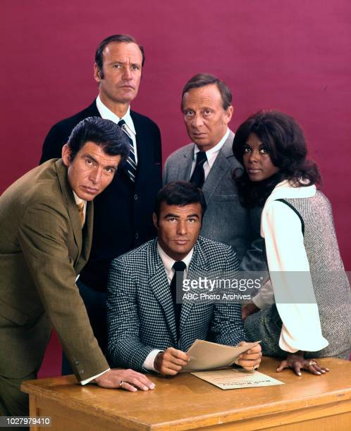 Richard Anderson Ned Romero Norman Fell Burt Reynolds Ena Hartman promotional photo for 'Dan August' May 13 1970