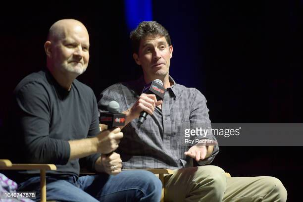Richard Appel and John Viener speak onstage at the Family Guy panel during 2018 New York Comic Con at on October 6 2018 in New York City