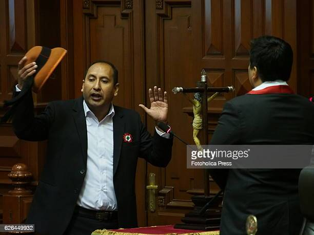 Richard Arce congressman elected for Frente Amplio party takes oath in solemn session in the Hemicycle