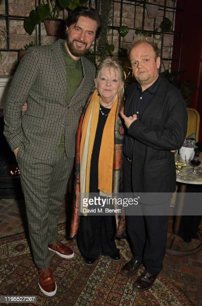 Richard Armitage Anna CalderMarshall and Toby Jones attend the press night after party for Uncle Vanya at Sophie's on January 23 2020 in London...