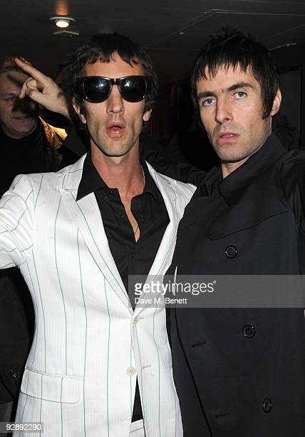 Richard Ashcroft and Liam Gallagher attend the launch of Liam Gallaghers clothing line Pretty Green at the Gore Hotel on November 7 2009 in London...