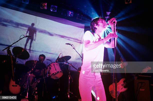 Richard Ashcroft of The Verve with Peter Salisbury and Simon Jones behind performing at Irving Plaza in New York City on November 5 1997