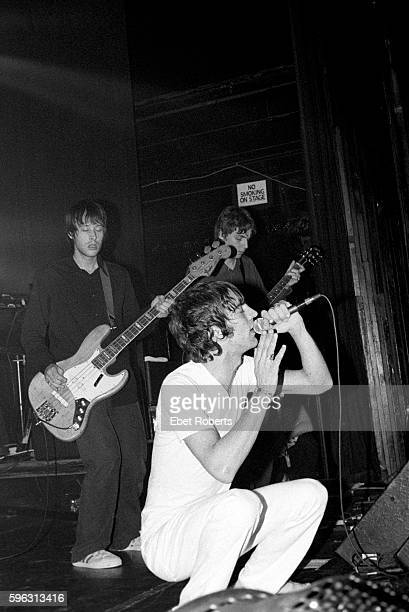 Richard Ashcroft of The Verve with Simon Jones and Simon Tong behind performing at Irving Plaza in New York City on November 5 1997