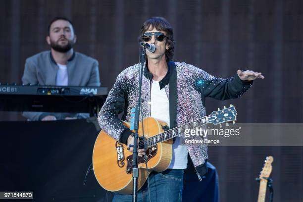 Richard Ashcroft performs live on stage at Old Trafford on June 5 2018 in Manchester England