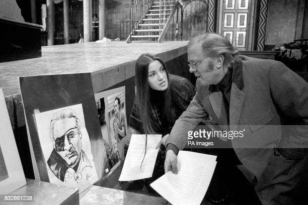 Richard Attenborough and his actress daughterinlaw Jane Seymour look at a selfportrait of Russian ballet dancer Valery Panov prior to today's auction...