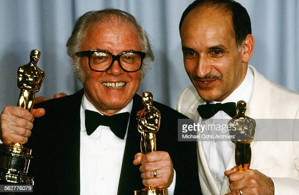 Richard Attenborough poses with Ben Kingsley backstage after winning Best Director and Best Picture and Best Actor for Gandhi at the 55th Academy...